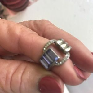 AMETHYST & CZ STAINLESS STEEL RING SIZE 7 NEW